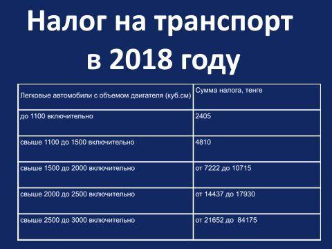 Налог на транспорт в 2018 году